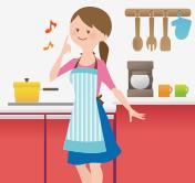 画像:キッチンの女性