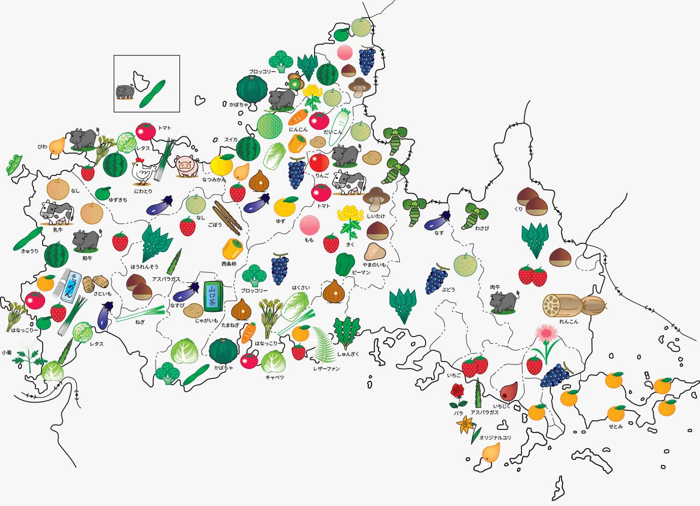画像:山口県の農産品を示した地図