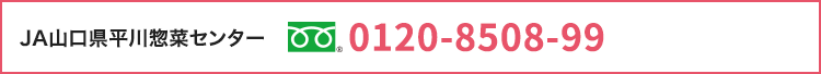 JA山口県平川惣菜センター フリーダイヤル 0120-8508-99